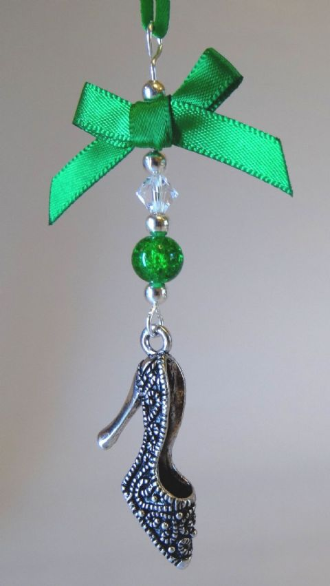 Silver Tibetan Shoe, Green Bow, Green Crackle Bead & Crystal - Xmas Tree Decoration